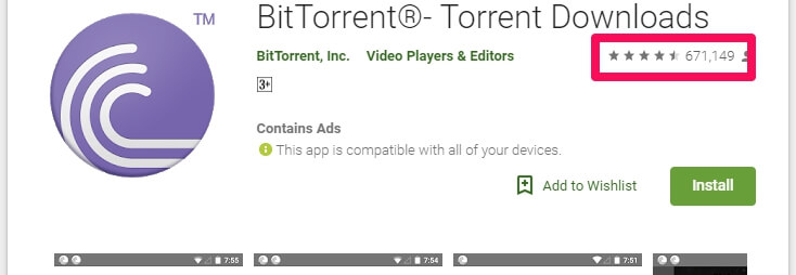 BitTorrent Android app popularity and number of installs