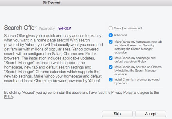 BitTorrent Yahoo search advanced installation options
