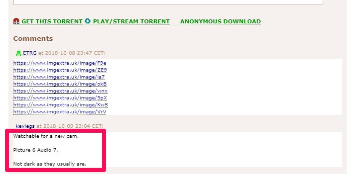 Check comments on torrent files