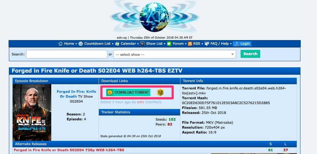 EZTV's torrent download page