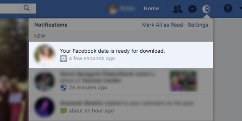 facebook data is ready for download