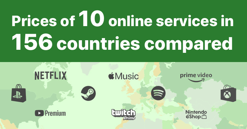 Prices of 10 online services in 156 countries compared