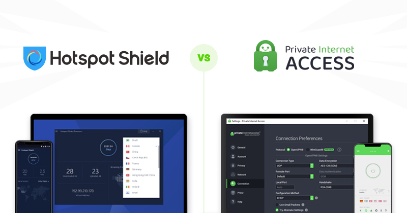 Hotspot Shield vs Private Internet Access comparison