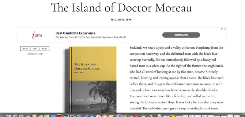 Island of Doctor Moreau from planet e-book