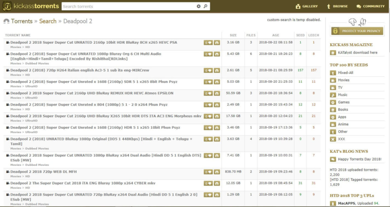 KickAss Torrents mirror 2
