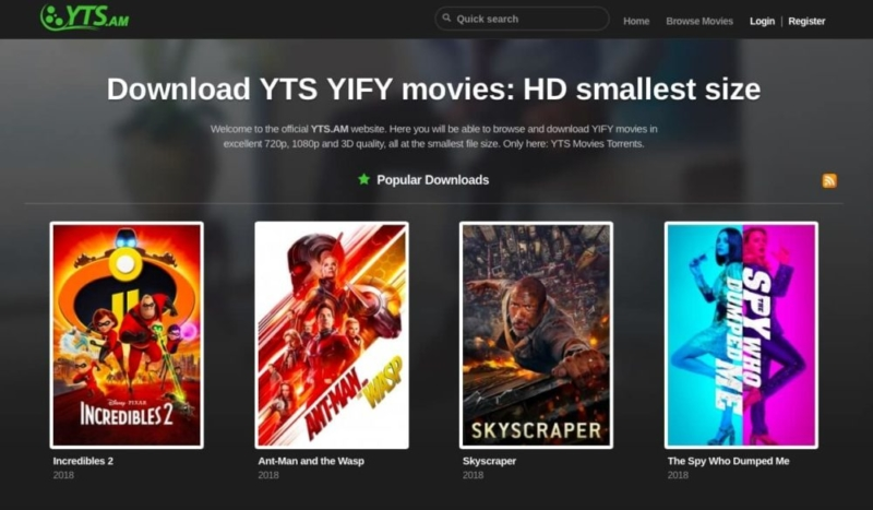A review of the YTS (YIFY) torrent site