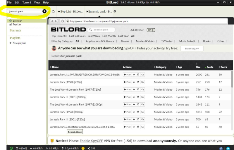 BitLord interface 2
