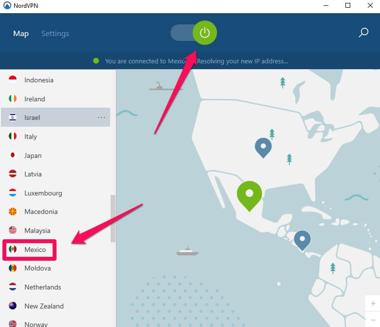 For torrenting, we've connected NordVPN with a server in Mexico