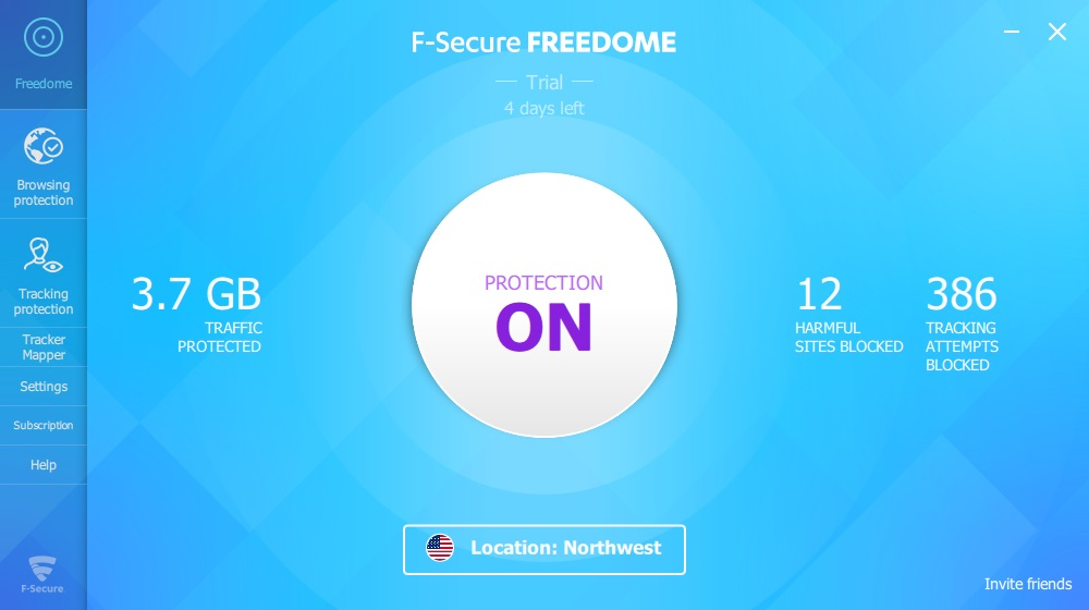 F-Secure Freedome interface