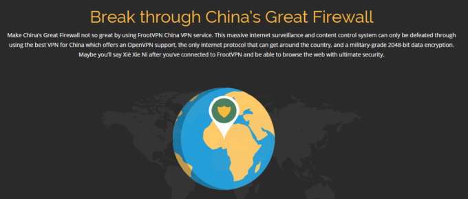 frootvpn map showing China in Africa map