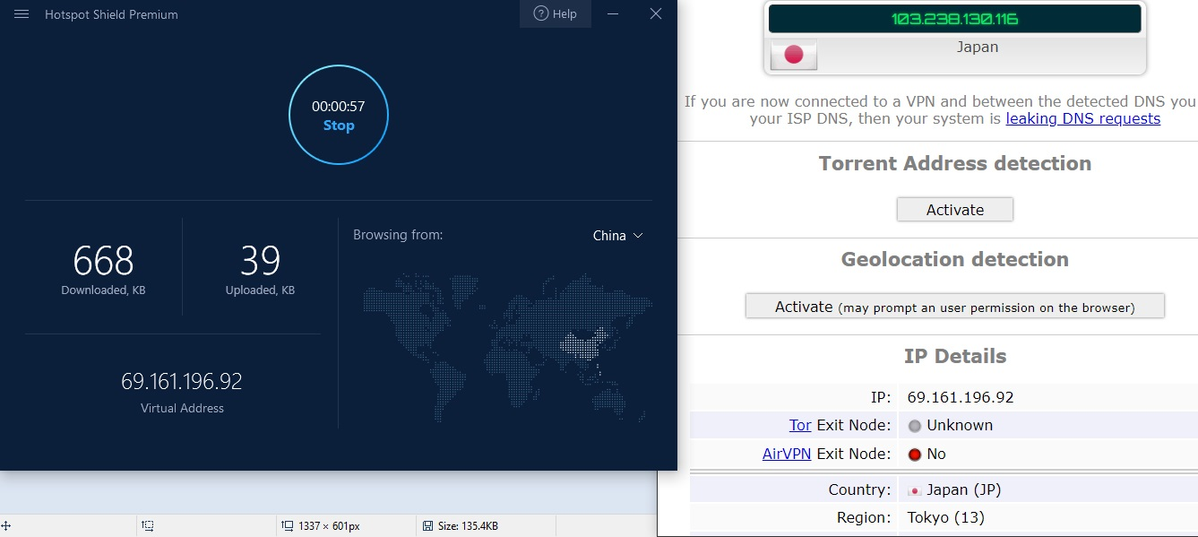 hotspot shield connected to server in china