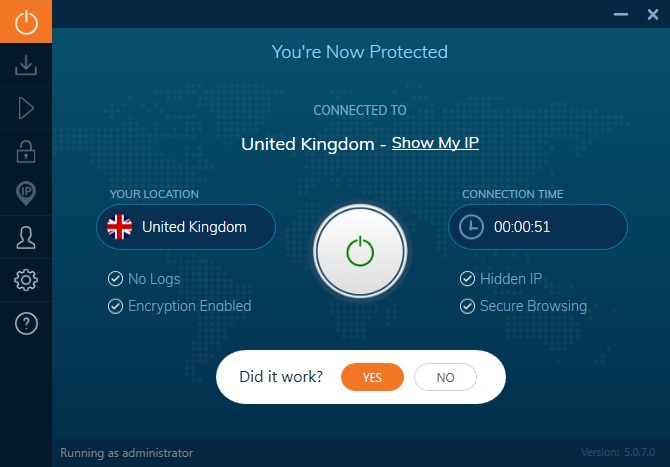 Ivacy VPN click on power button to connect to the server