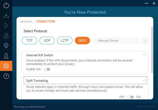 Ivacy VPN connection settings