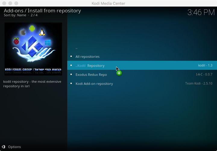 Step 10 - install from kodil repository