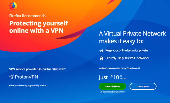 Firefox recommends ProtonVPN