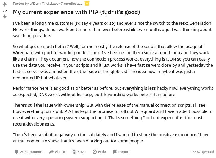 PIA Review on Reddit