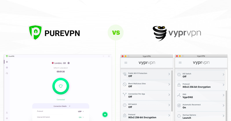 PureVPN vs VyprVPN comparison