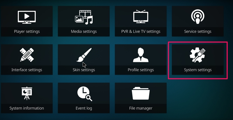 How to turn on other sources in Kodi