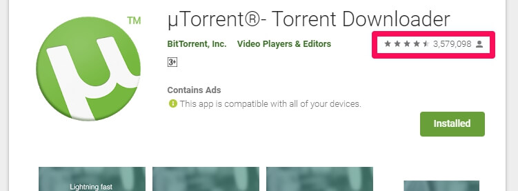 uTorrent Android app popularity and number of installs