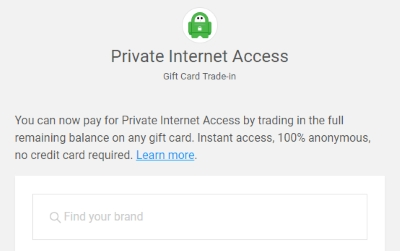 Private Internet Access gift card trade-in